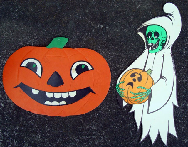 Vintage Beistle Halloween decoration - Jack-O-Lantern and Ghost