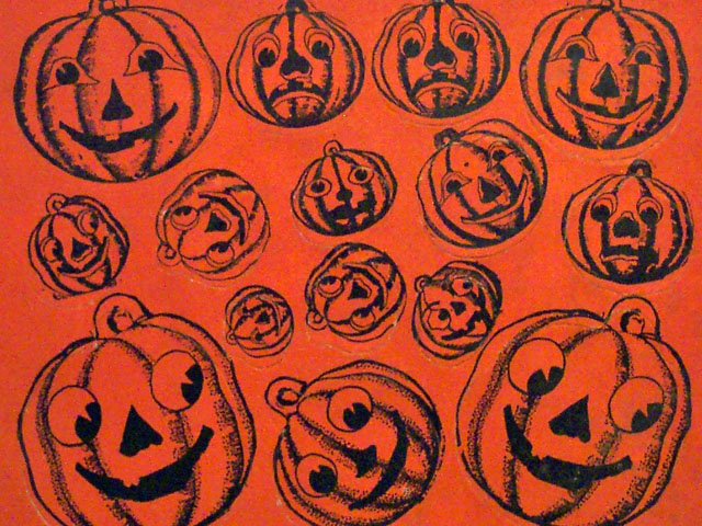 Vintage Beistle Halloween pumpkin seals