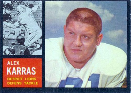 Alex Karras Detroit Lions football card (1962 Topps)