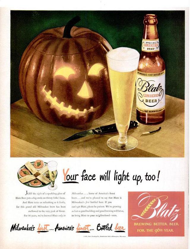 Blatz Beer Halloween ad (1947)
