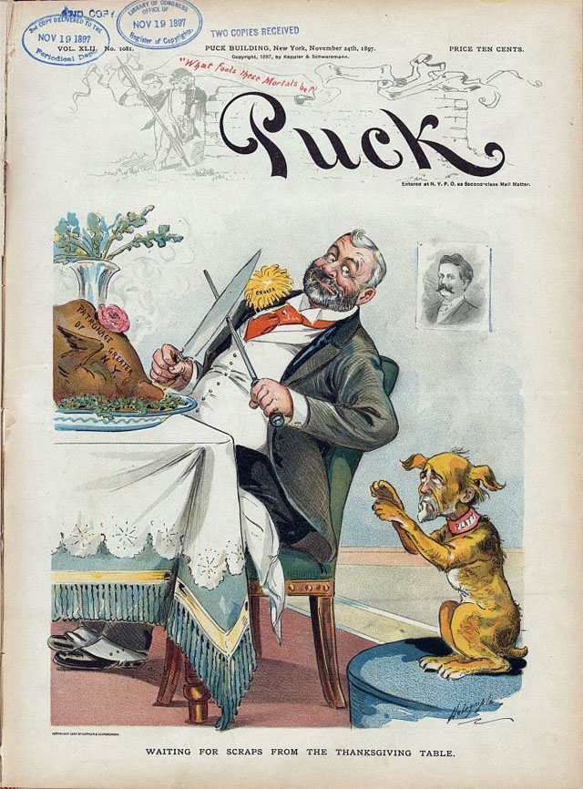 Puck magazine Thanksgiving cover - 1897