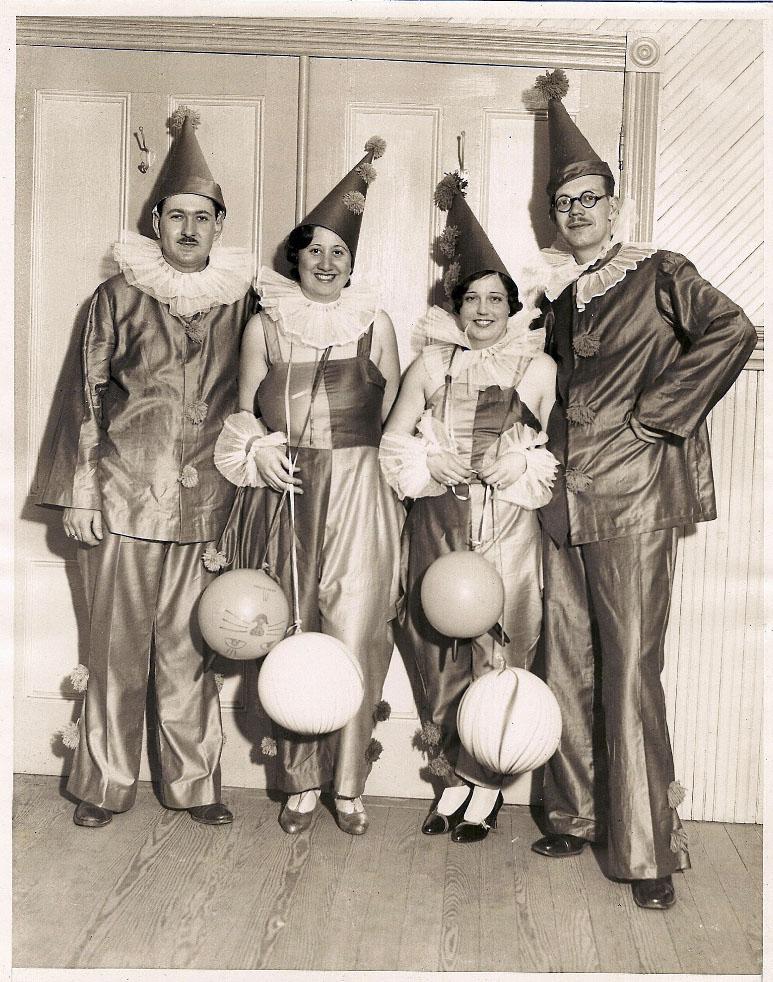Undated vintage Halloween costume photo - clowns