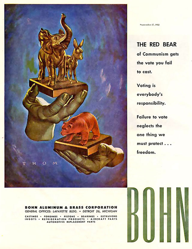 Vintage Election Day ad - Bohn Aluminum & Brass Corporation, 1952