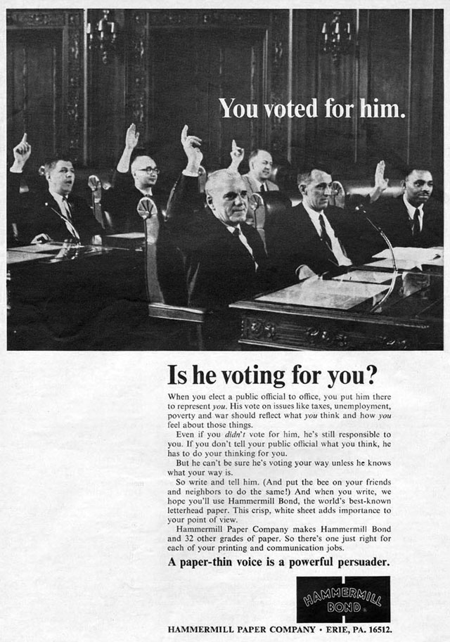 Vintage Election Day ad - Hammermill Paper Company, 1968