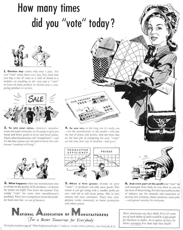 Vintage Election Day ad - National Association of Manufacturers, 1947