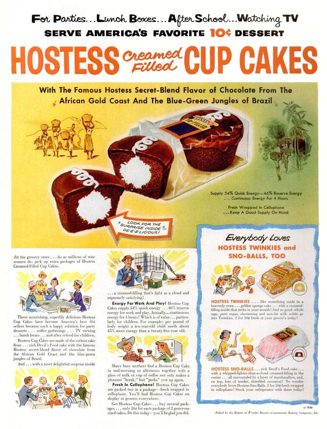 Hostess snack foods ad (1956)