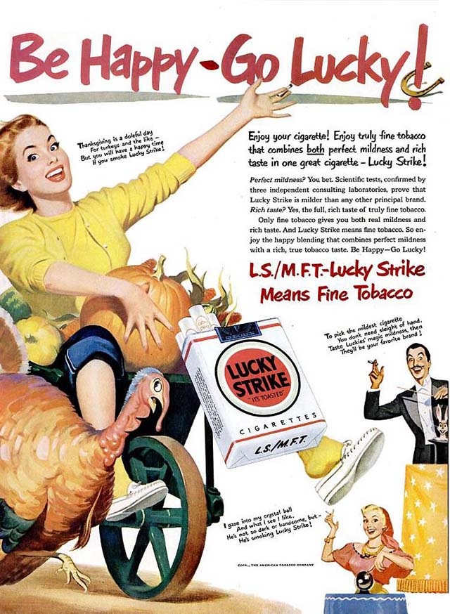 Vintage Thanksgiving ad - Lucky Strike cigarettes (1950)