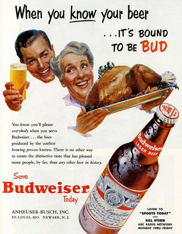 Vintage Thanksgiving ad - Budweiser (1953)