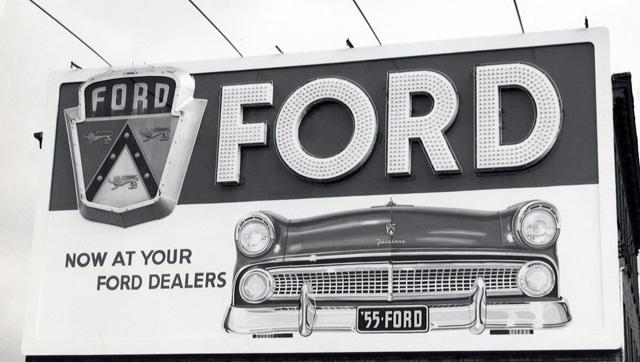 1955 Ford car billboard ad