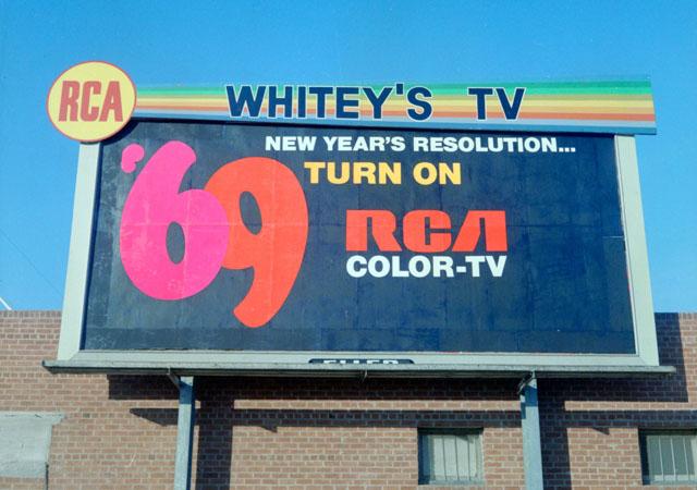 RCA (Whitey's TV) 1969 billboard advertisement
