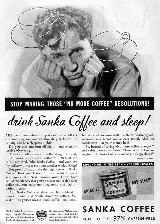 Vintage Sanka coffee ad (1932)