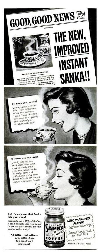 Vintage Sanka coffee ad (1950)
