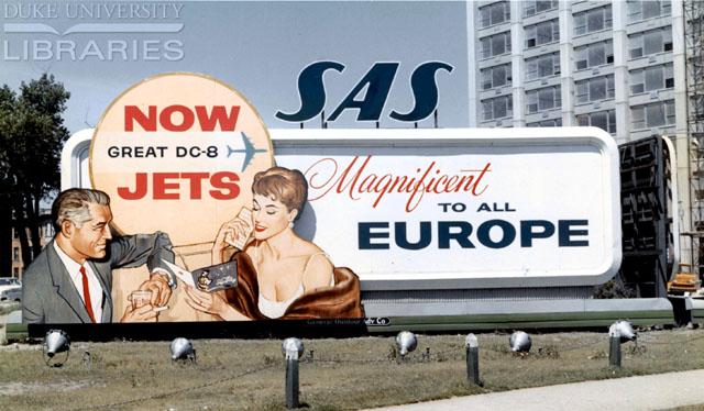 Scandinavian Airlines (SAS) DC-8 billboard ad