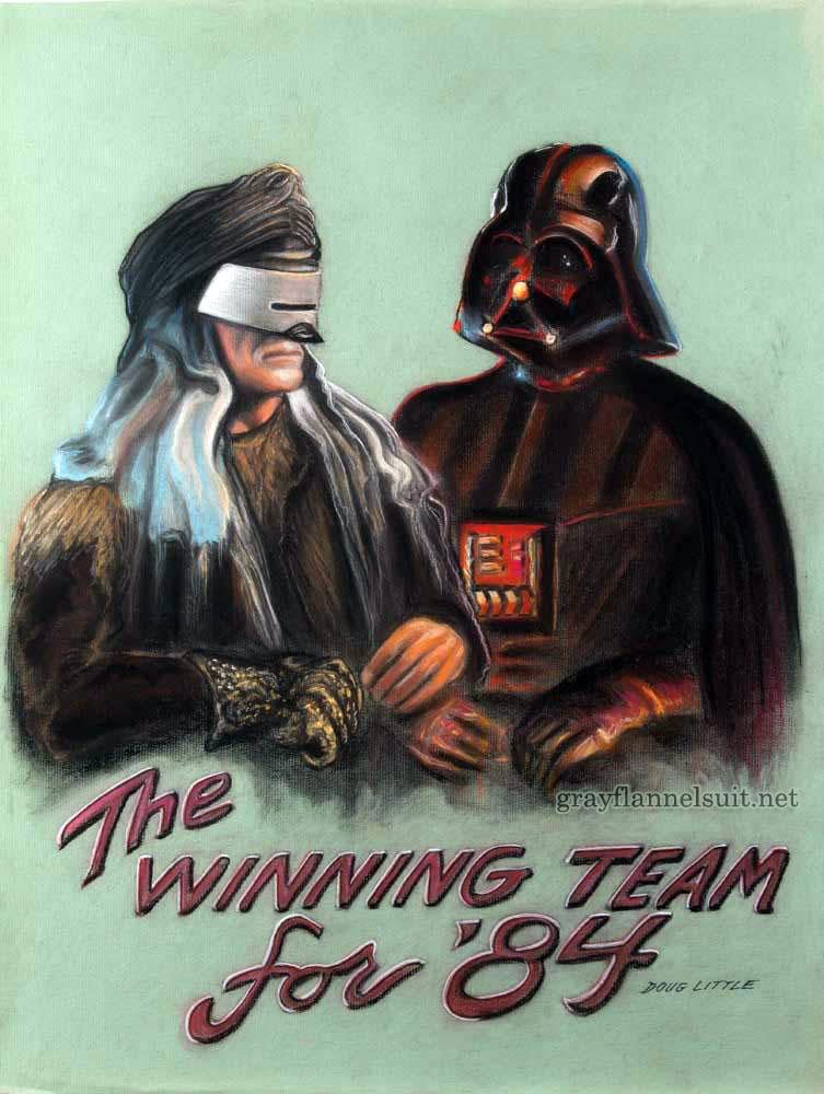 Star Trek pastel painting - Khan and Darth Vader