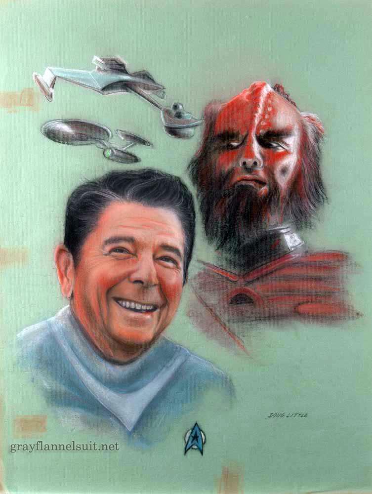 Star Trek pastel painting - Ronald Reagan and a Klingon