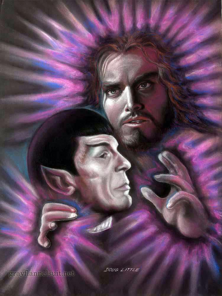 Star Trek pastel painting - Spock and Jeffrey Hunter Jesus