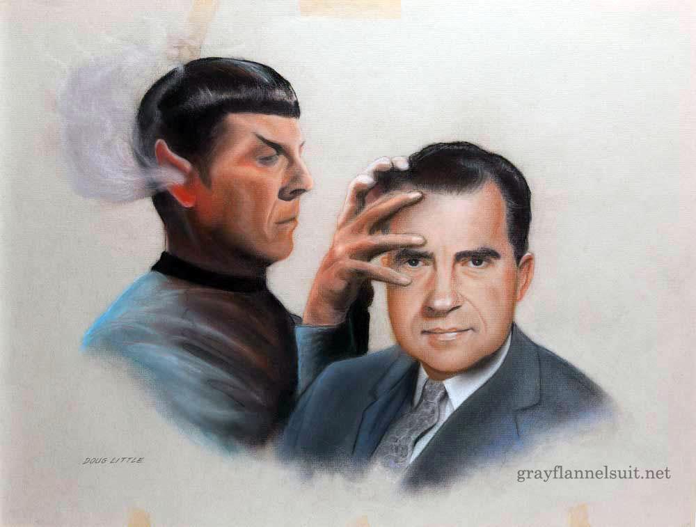Star Trek pastel painting - Spock and Richard Nixon