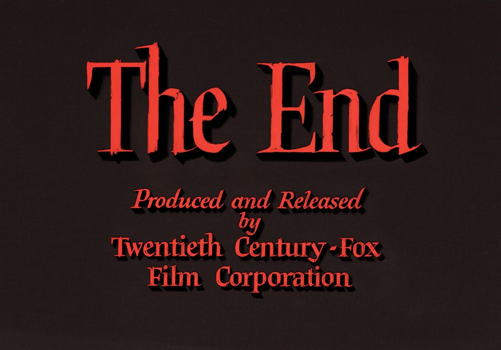 "20th Century Fox ""The End"" (c. 1950s) vintage movie title camera art"