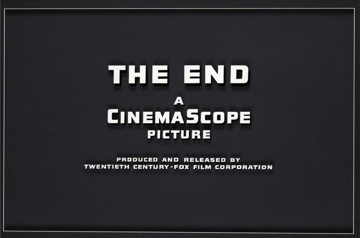 "Twentieth Century Fox CinemaScope ""The End"" (1960s) vintage movie title camera art"