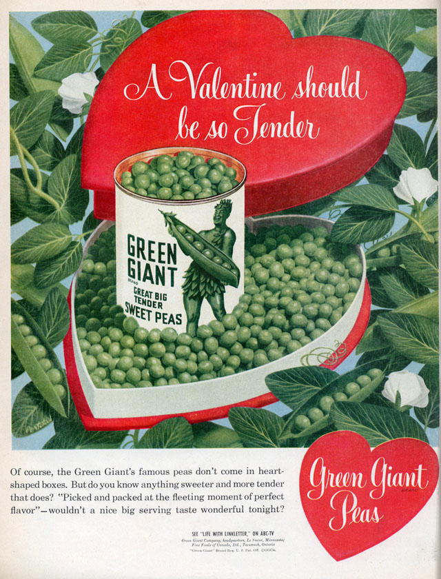 Green Giant Peas Valentine's Day ad, 1952