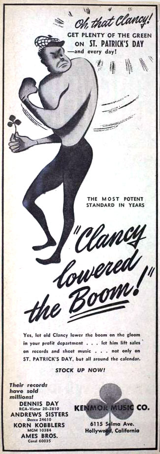 "Kenmor Music's ""Clancy Lowered the Boom"" (1950) vintage St. Patrick's Day ad"