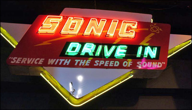 Sonic Drive-In neon sign with original logo
