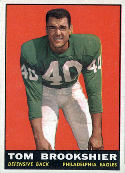 Tom Brookshier 1961 Topps football card