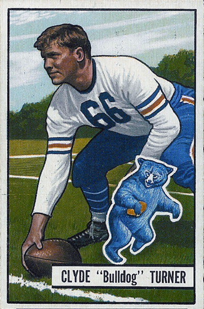 "Clyde ""Bulldog"" Turner 1951 Bowman football card"