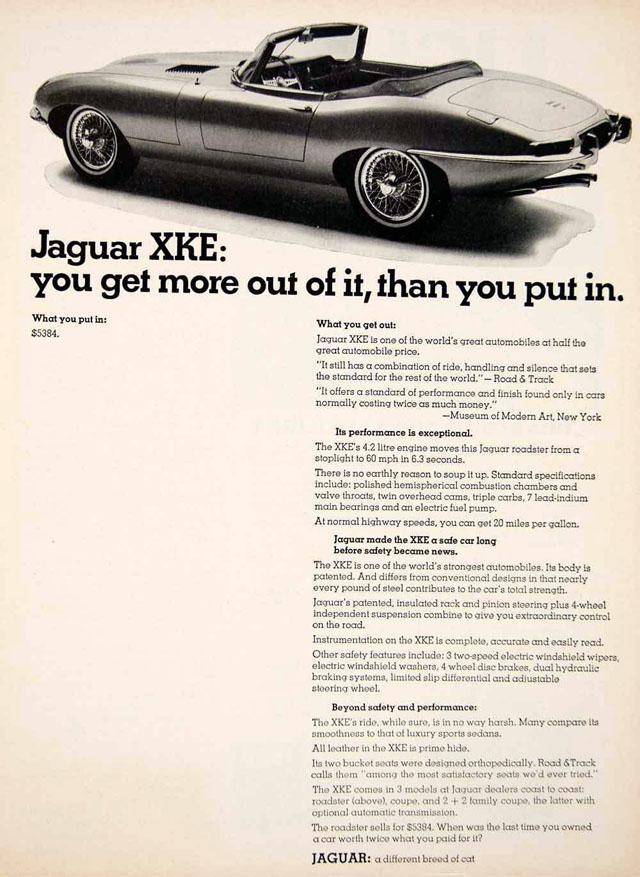 Vintage Jaguar XKE ad, 1967