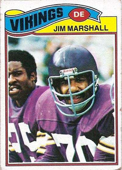 Jim Marshall 1977 Topps football card