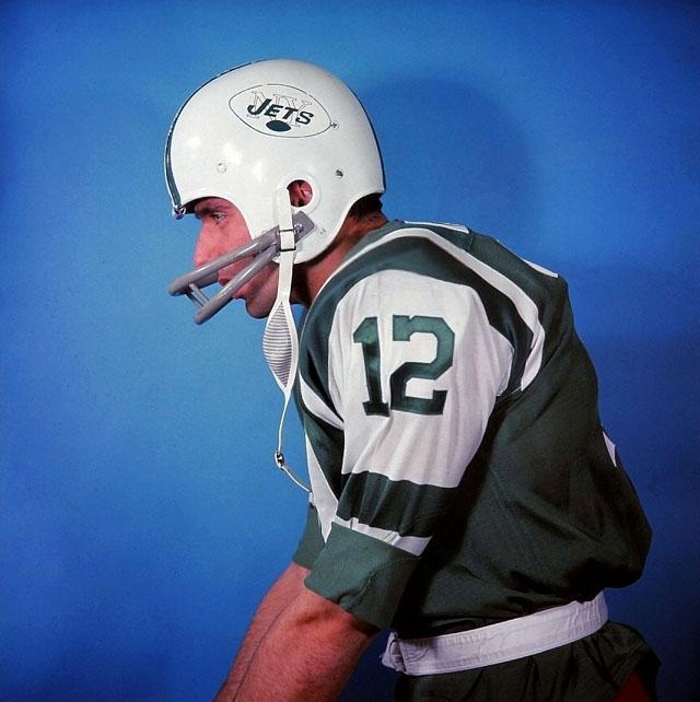 Joe Namath Wearing a 1964 New York Jets Helmet