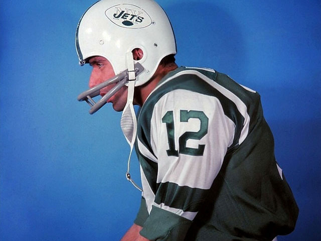 Here's Joe Namath Wearing a 1964 New York Jets Helmet