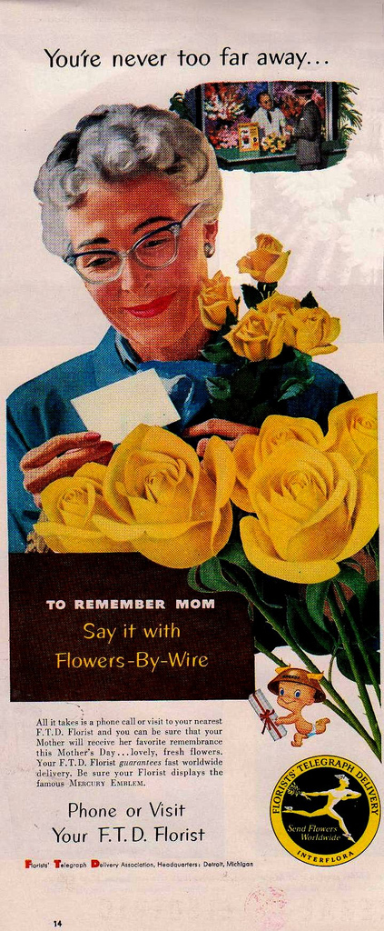 FTD Florist Mother's Day ad (1956)