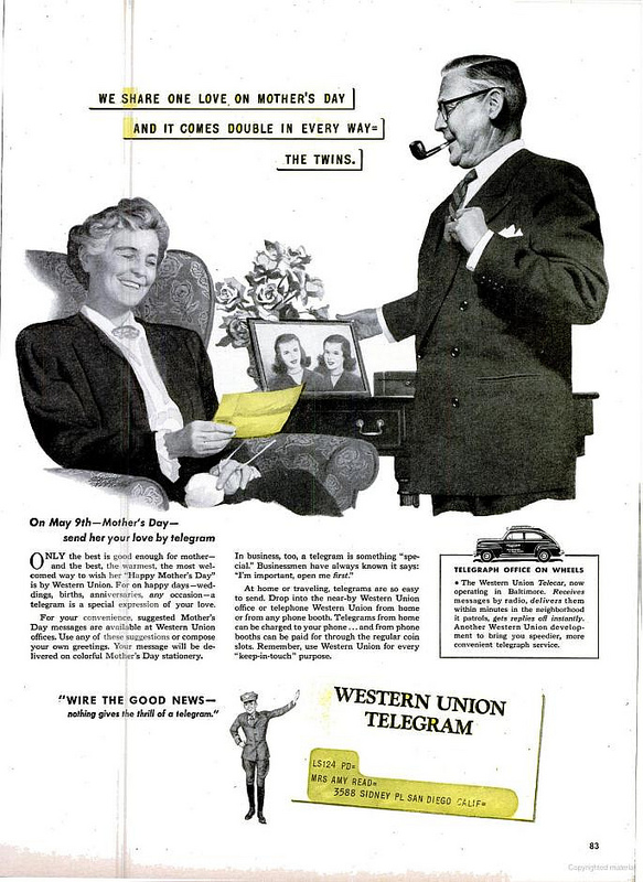 Western Union Mother's Day ad (1948)