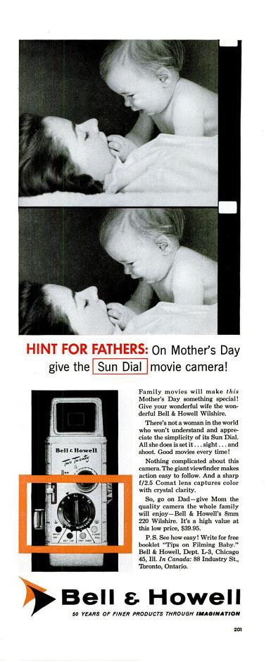 Vintage Mother's Day ad - Bell & Howell, 1957