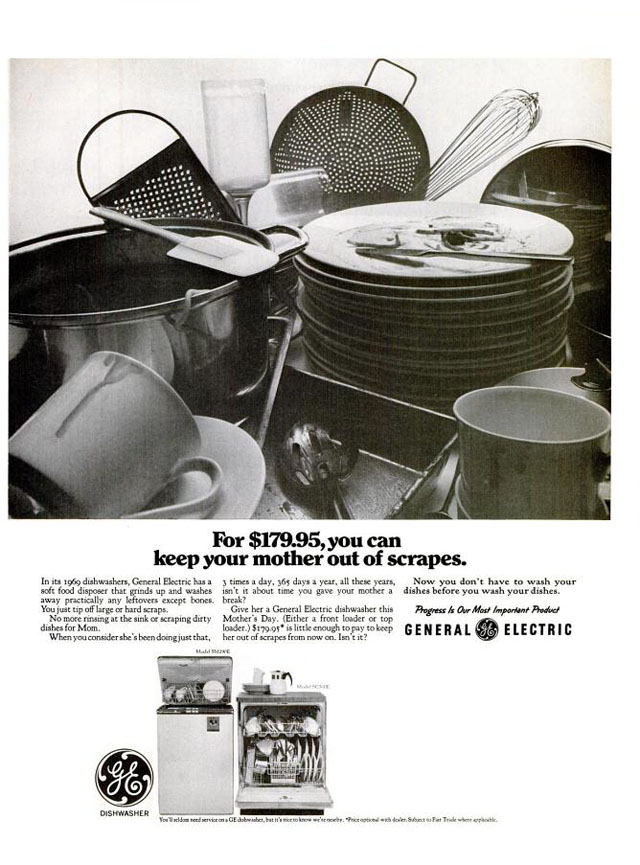 Vintage Mother's Day ad - General Electric dishwasher, 1969