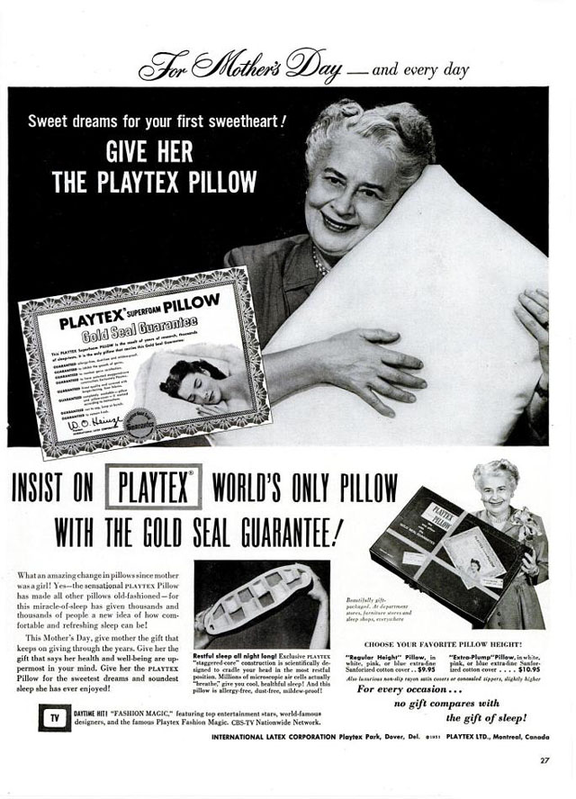 Vintage Mother's Day ad - Playtex pillow, 1952