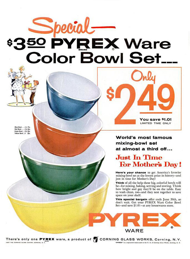 Vintage Mother's Day ad - Pyrex, 1955