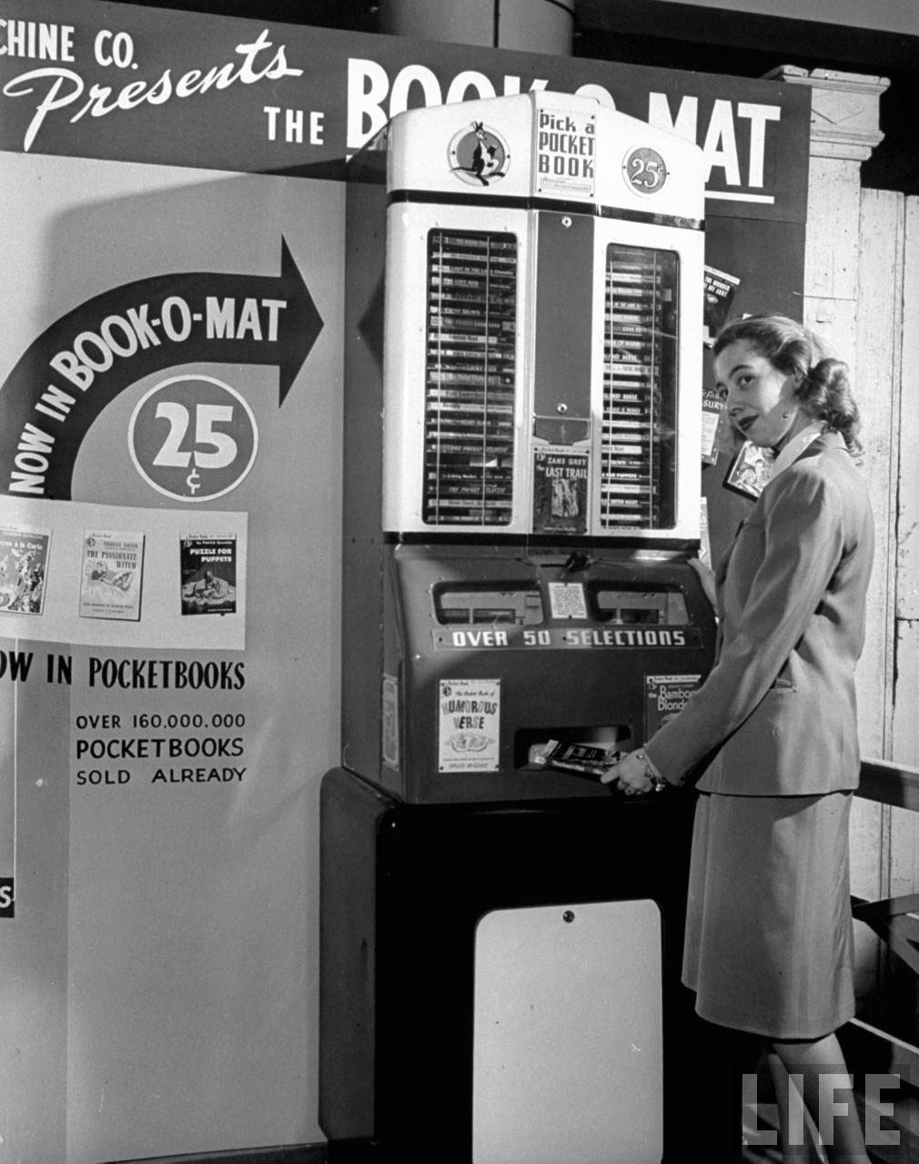 Photograph of a vintage coin-operated book machine, 1947 (Life magazine, Wallace Kirkland)