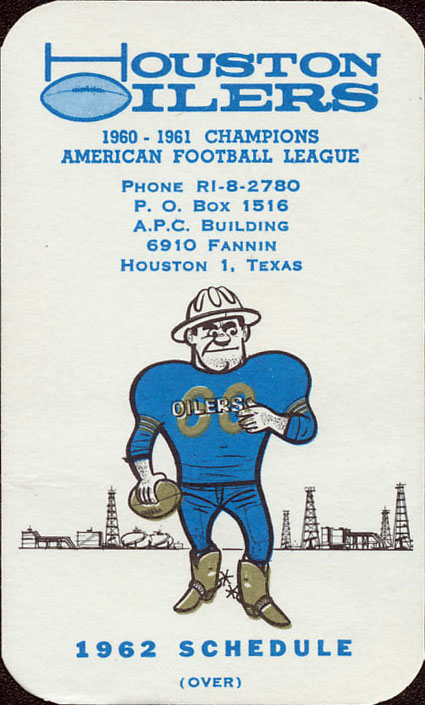 1962 Houston Oilers Pocket Schedule