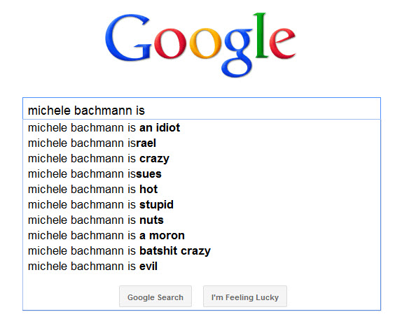 How Google sees Michele Bachmann