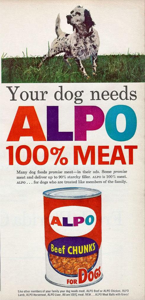 Alpo dog food ad, 1963