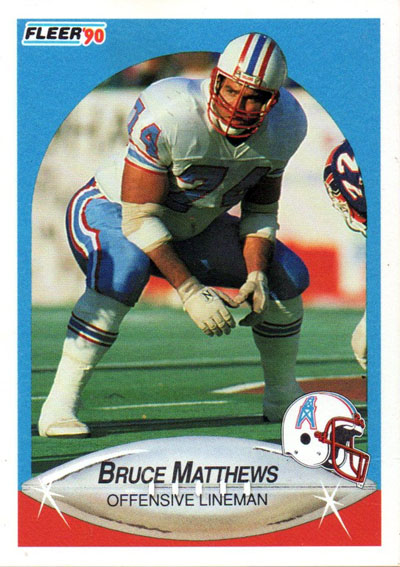 Bruce Matthews 1990 Fleer football card