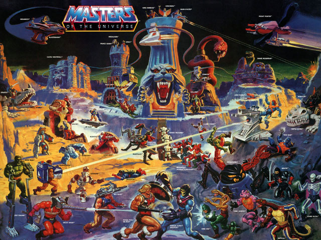 He-Man Masters of the Universe toy line poster (feat. the Eternia playset)