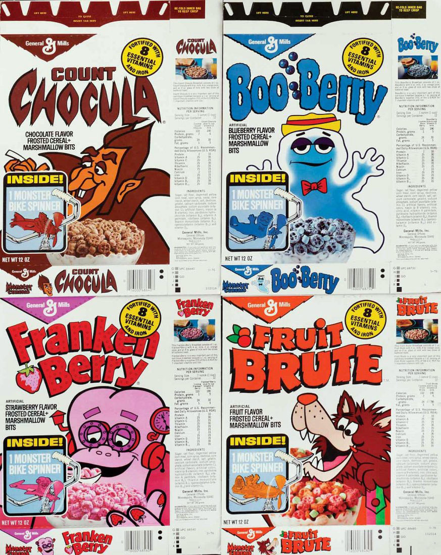 1970s General Mills cereal boxes - Count Chocula, Franken Berry, Boo Berry, and Fruit Brute.