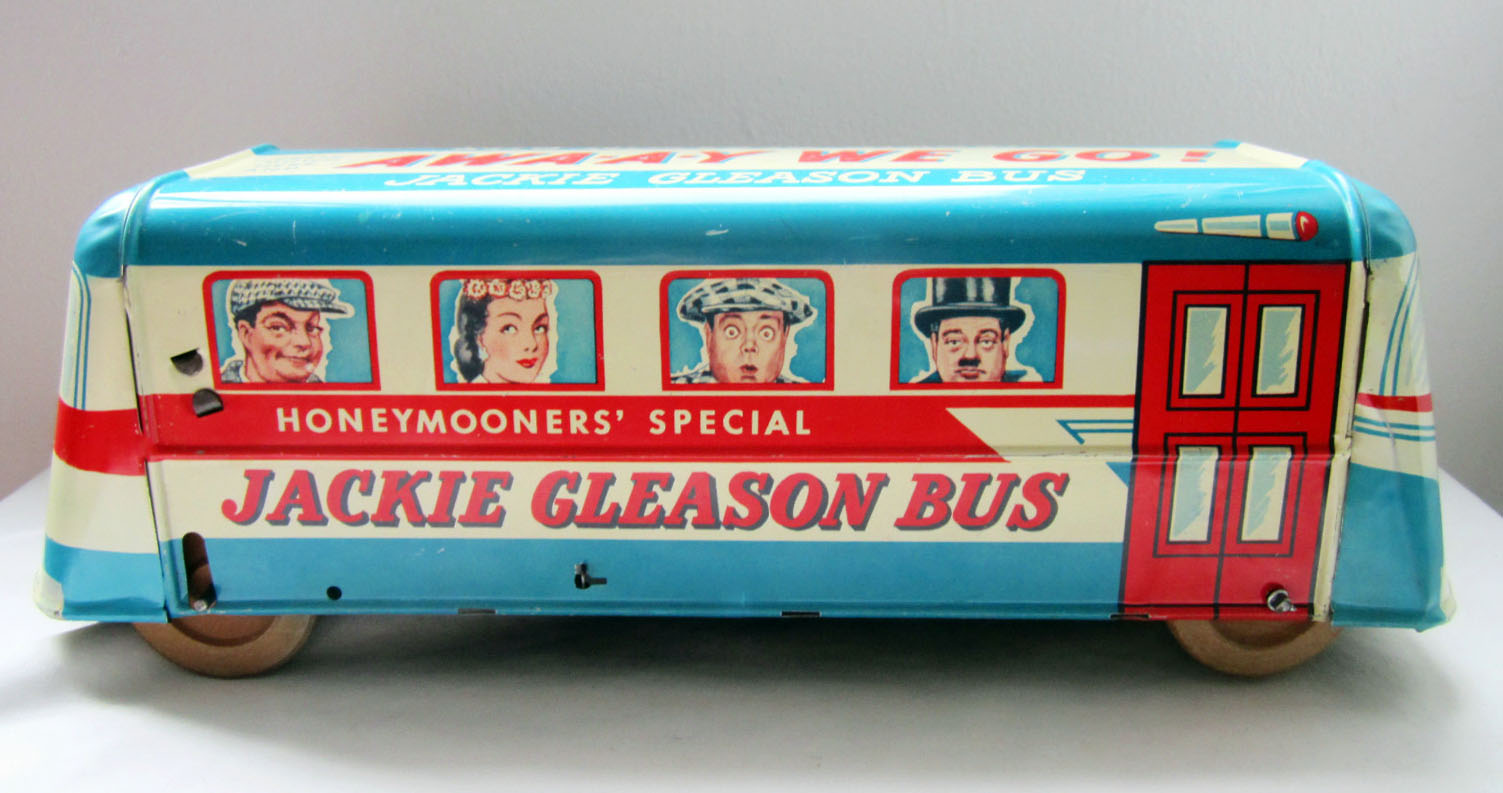 vintage 1950s jackie gleason honeymooners tin toy bus