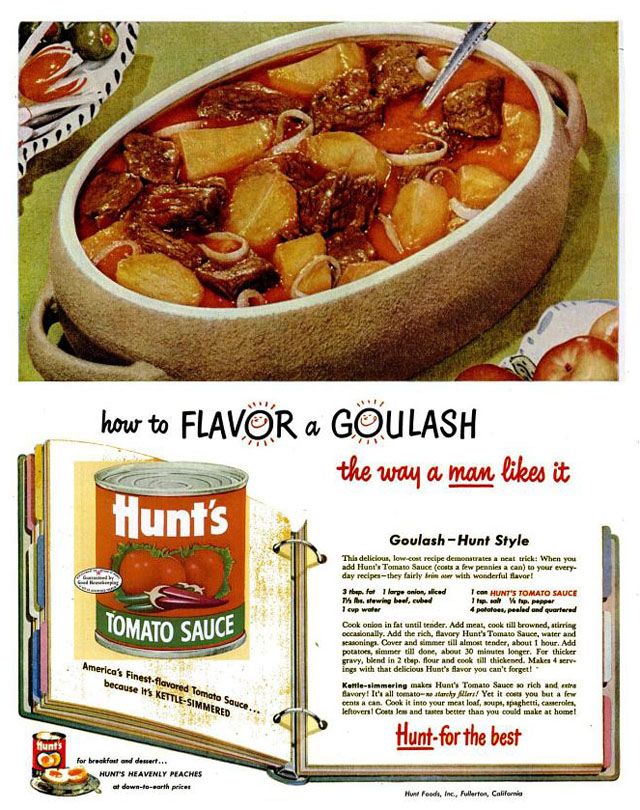 Hunt's Tomato Sauce goulash recipe, 1953