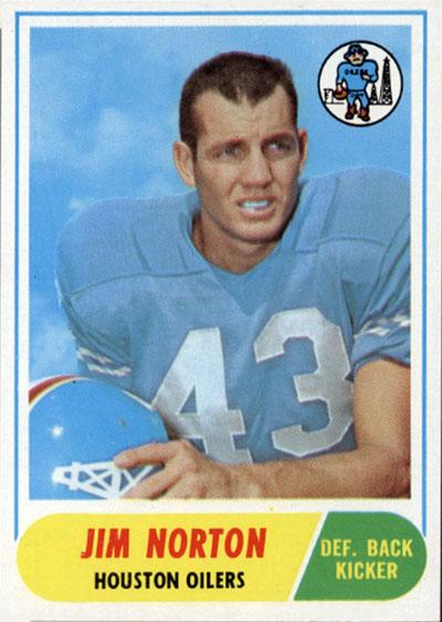 Jim Norton 1968 Topps football card