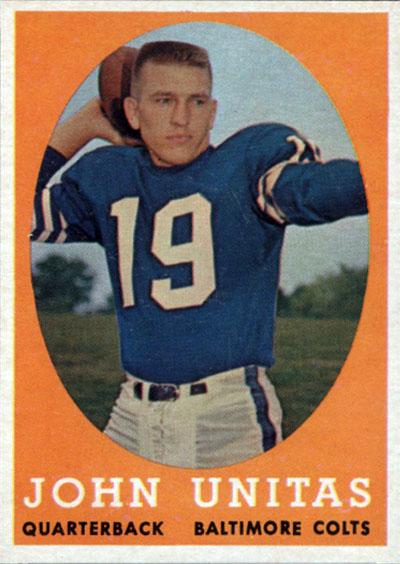 Johnny Unitas 1958 Topps football card