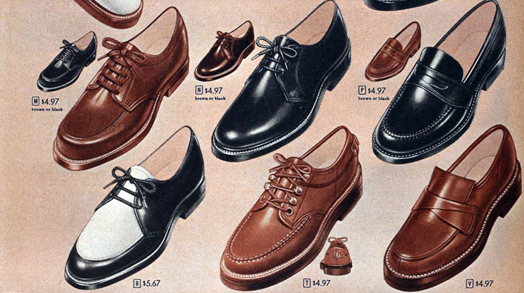 1958 Sears catalog page (saddle shoes)